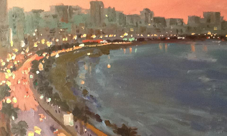 Painting by Mohamed Abla, currently on display at the Art Corner Gallery