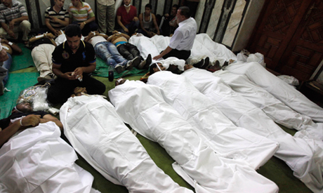 Bodies of protesters who support ousted Egyptian President Mohamed Mursi, killed during Ramses clash