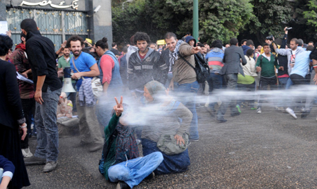 Egyptian police fire water cannons to disperse a protest