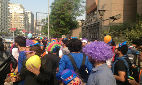 the April 6 Youth Movement staged a satirical protest in clown gear