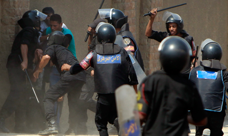 Riot police clash with anti-Mubarak demonstrators