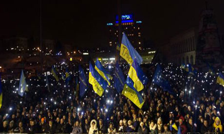 Pro-European integration protesters in Kiev