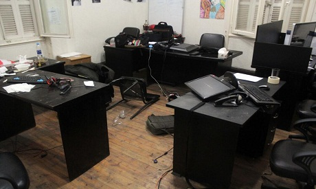 "The ""ECESR"" office after the police raid"