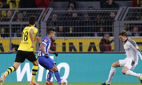 tunisia 39 s allagui scores and dishes out assist as hertha. Black Bedroom Furniture Sets. Home Design Ideas