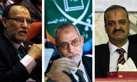 Brotherhood Supreme Guide Mohamed Badie, along with leaders Essam El-Erian and Mohamed El-Beltagy