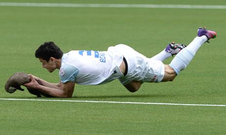 Wild animal bites Swiss footballer on the pitch