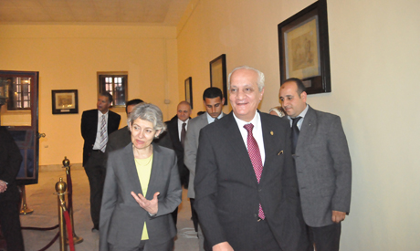 Bokova and Ibrahim during their tour at the military museum