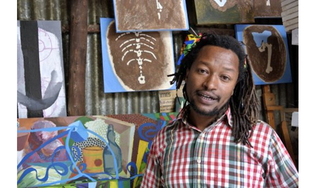Artist Tamrat Gazahegn at Netsa Art Village in Addis Ababa, February 22 2013. (Photo: AFP)