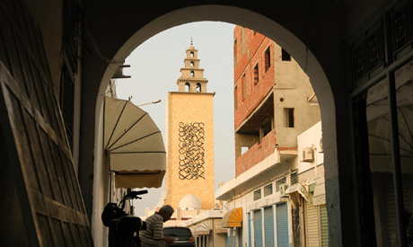 Mural by El-Seed in, on Jara Mosque, Gabes, Tunisia. (Photo: courtesy of El-Seed)