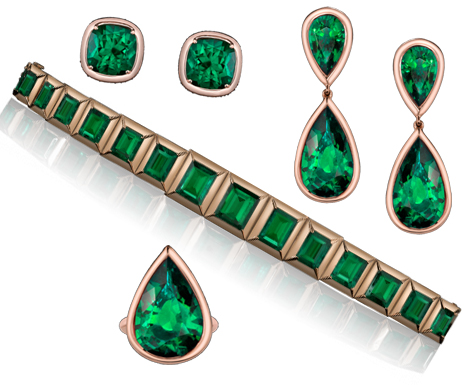 Emerald sets created by Jolie and Robert Procop