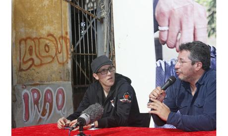 Mouad Belghouat (El-Haqed) and activist Abdellah Abaakil, March 29, 2013. (Photo: AP)