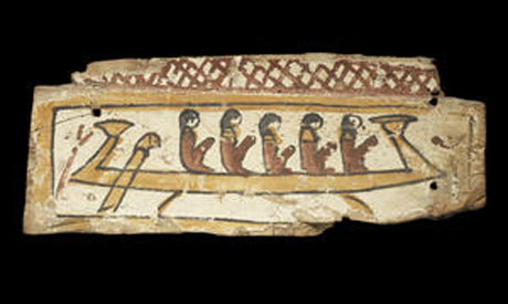 An Egyptian polychrome painted wood sarcophagus fragment  Late Period, circa 664-30 B.C.