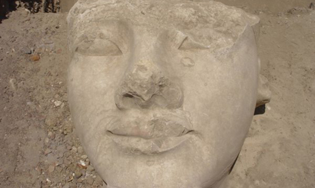The head of Ramses II after relocation