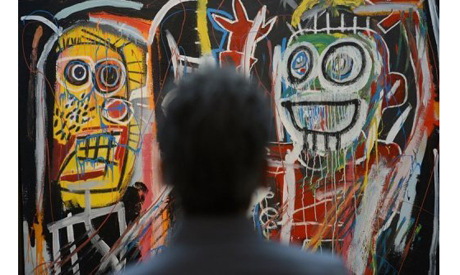 """Dustheads"""" by Jean-Michel Basquiat on display at Christie"""
