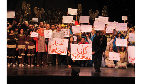 Nayer Nagui among cast of Opera Aida on main hall stage at Cairo Opera Aida, striking. (Photo: Ayman