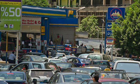 Traffic congestion at a petrol station in Cairo