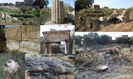 shots of the remains of the temple