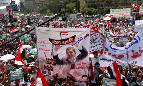 Poster of ousted president Morsi in Rabaa sit in