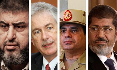 El-Shater, Burns, El-Sisi and Morsi