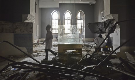 Rubble inside the Islamic Arts Museum in Cairo. Photograph: Anadolu Agency/Getty Images