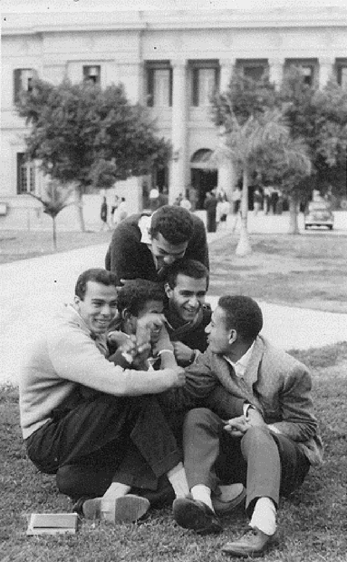 college students in the garden of cairo university