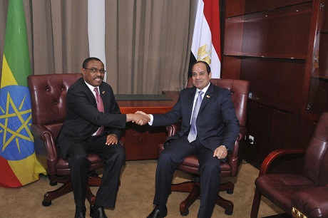Egypt President Abdel Fattah al-Sisi talks to Ethiopian Prime Minister Hailemariam Desalegn as they arrive to attend the 23rd African Union Summit (AUS) in Malabo June 26, 2014. (Photo: Reuters)