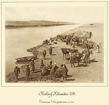 Shallufa excavation on dry land to widen the canal photo by arnoux 1869 1885