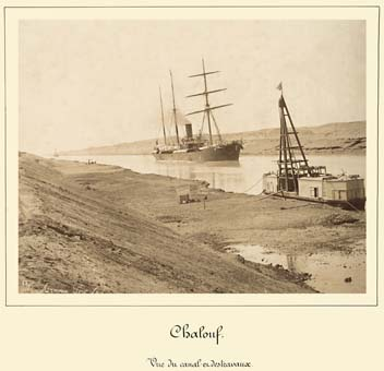 shallufa view of canal undergoing work ship photograph by Arnoux 1869 1885