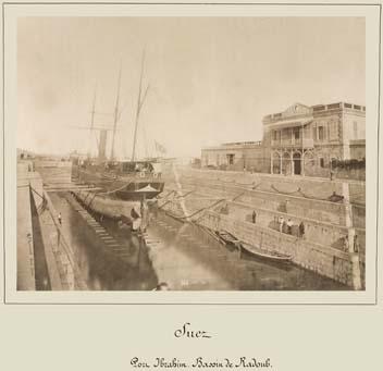 suez port ibrahim dry dock by hippolyte photo by  Arnoux 1869 1885