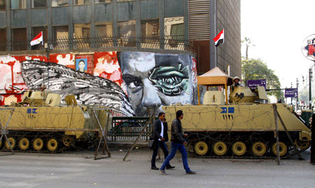 Army forces stationed in Tahrir Square on Friday (Photo: Mai Shaheen)