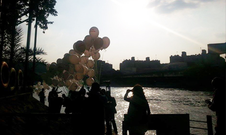 Releasing balloons in honor of all Palestinians