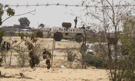 Egyptian border guards patrol in Rafah