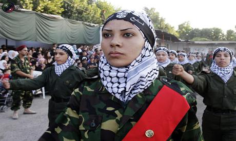 Military Palestinian woman