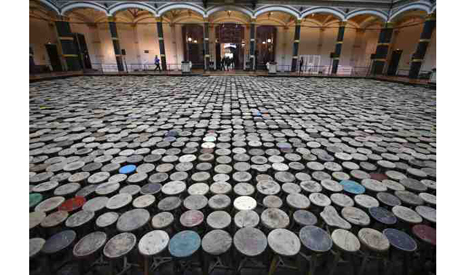 """general view of the installation """"Stools"""" by Chinese artist Ai Weiwei pictured during a media previ"""