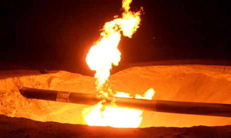 A fire is seen on a gas pipeline