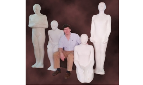 Paul-Gordon with the unpainted Amen-Amun (4 prayer forms) sculptures in Cairo recently