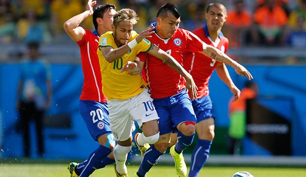 Brazil S Neymar Works Against Chile Gary Medel Photo Ap