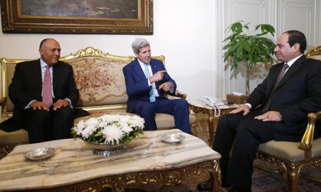 U.S. Secretary of State John Kerry with Egyptian President Abdel Fattah al-Sisi and Egyptian Foreign