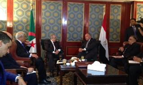 Sameh Shoukry during a meeting with Minsters of neighboring countries