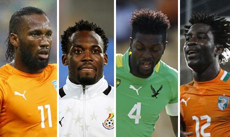 Wilfried Bony, Emmanuel Adebayor, Michael Essien, Didier Drogba