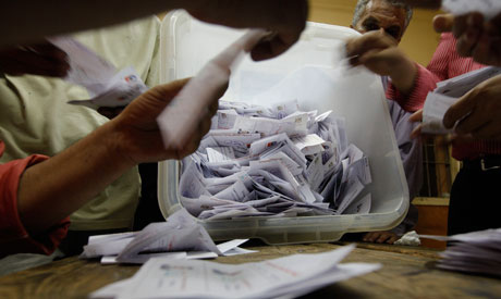 File photo: Egyptian elections officials