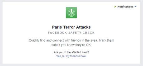 Facebook safety check For Paris terror attacks