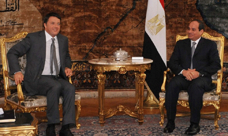 Renzi and Sisi in cairo (Photo: Reuters)
