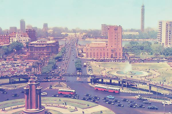 A pedestrian bridge circled Tahrir in the 1970s. The photo shows the pink granite base intended for