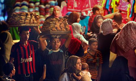 crowded popular market