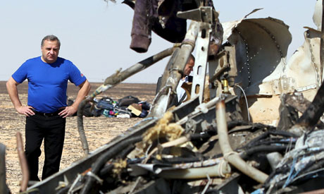Russian Emergencies Minister Vladimir Puchkov looks at debris from a Russian airliner at its crash s