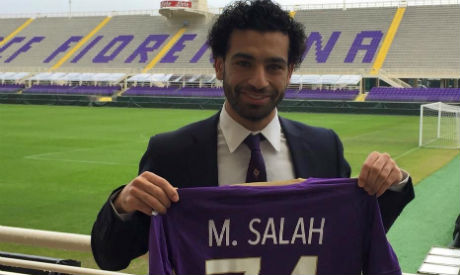 reputable site fb969 a85ba Egypt's Salah scores first goal for Fiorentina in Serie A ...