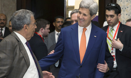 US Secretary of State John Kerry and Amr Moussa