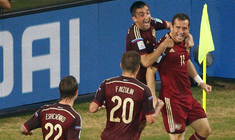 Russia players celebrates