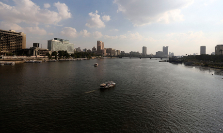 A boat cruises along the river Nile in Cairo